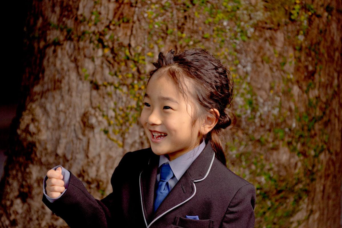 洋装で七五三 藤崎宮で写真撮影 シークレットミラーズさんで洋装ヘアスタイル
