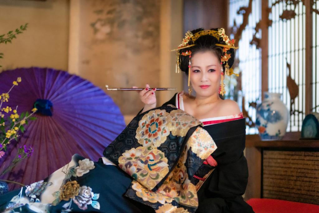 出張写真撮影 花魁衣装 木村鈴香 熊本のBAR鈴香